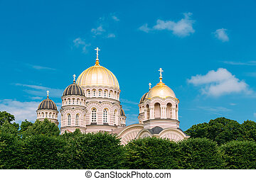 Riga Nativity Of Christ Cathedral - Famous Church On Blue...
