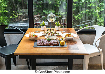 dining table with food ready to eat