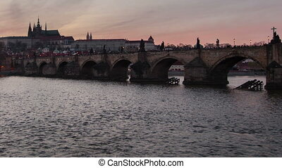 The Charles bridge and amazing time lapse shooting in day-to-night perspective