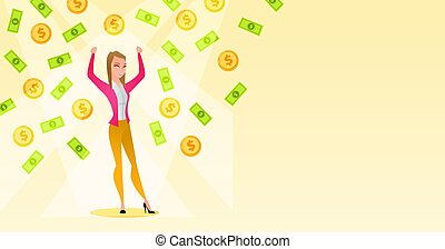 Happy busiess woman under money rain. - Caucasian successful...