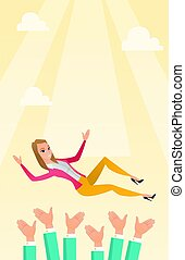Successful business woman during celebration. - Successful...