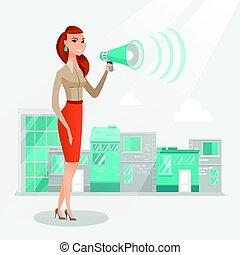 Business woman making public announcement.