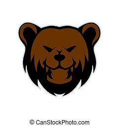Grizzly bear head mascot isolated in white background