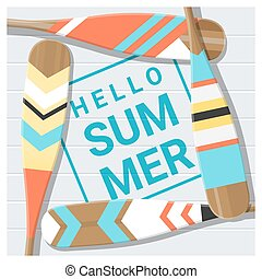 Hello summer background with painted canoe paddle 4