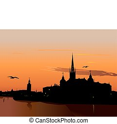 Silhouette of Stockholm at sunset, The City Hall, Riddarholm...