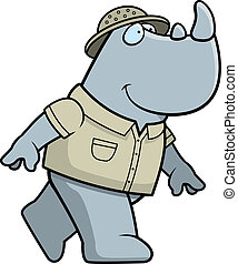 Rhino Explorer - A happy cartoon rhino explorer walking and...