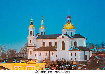 Vitebsk, Belarus. Evening Night View Of Landmark Is Assumption Cathedral Church