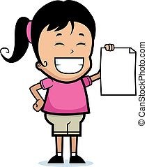 Child Proud - A happy cartoon child proudly holding a piece...