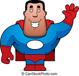 Superhero Waving - A happy cartoon superhero waving and...