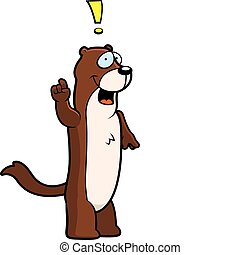 Weasel Idea - A happy cartoon weasel with an idea.