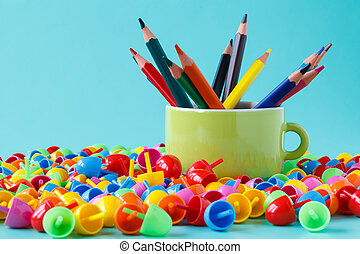 crayons full color with small cup