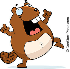 Beaver Dancing - A happy cartoon beaver dancing and smiling