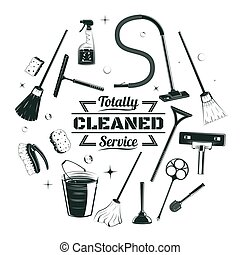 Sketch Cleaning Service Elements Round Concept - Sketch...