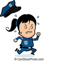 Child Police - A cartoon child police officer angry and...