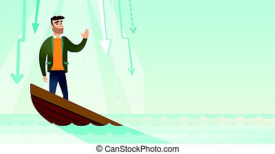 Business woman standing in sinking boat. - Caucasian...