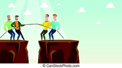 Two groups of business people pulling rope. - Two caucasian...