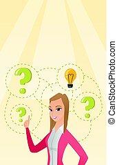 Caucasian business woman having business idea. - Caucasian...