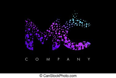 MC M C Letter Logo with Purple Particles and Bubble Dots -...