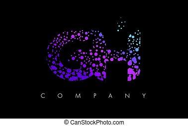 Puntos, G, púrpura, H, partículas, carta, logotipo, burbuja,...