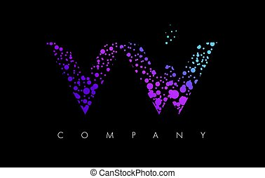 VW V W Letter Logo with Purple Particles and Bubble Dots -...