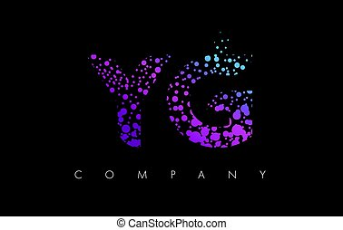 YG Y G Letter Logo with Purple Particles and Bubble Dots -...