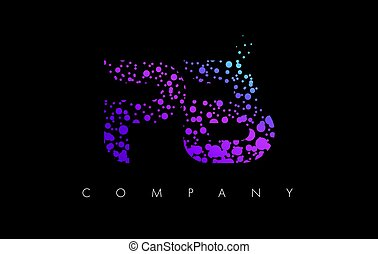 PB P B Letter Logo with Purple Particles and Bubble Dots -...