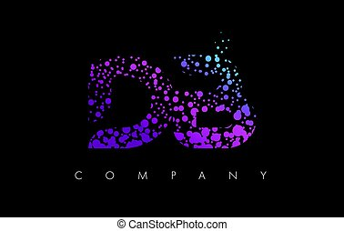 DB D B Letter Logo with Purple Particles and Bubble Dots -...
