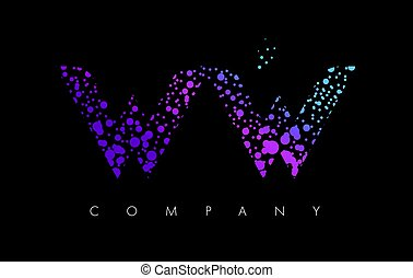 WW W Letter Logo with Purple Particles and Bubble Dots - WW...