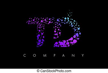 TD T D Letter Logo with Purple Particles and Bubble Dots -...