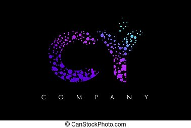 CY C Y Letter Logo with Purple Particles and Bubble Dots -...