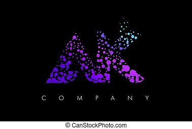 AK A K Letter Logo with Purple Particles and Bubble Dots -...