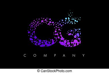 CG C G Letter Logo with Purple Particles and Bubble Dots -...
