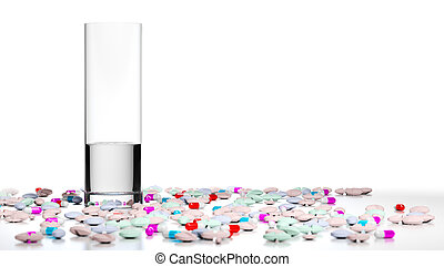 Too Many Pills, Overmedication - 3D illustration of a glass...