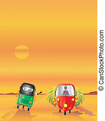 heavy load - an illustration of two auto rickshaws passing...