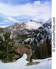 Longs Peak In Rocky Mountain National Park covered in snow -...