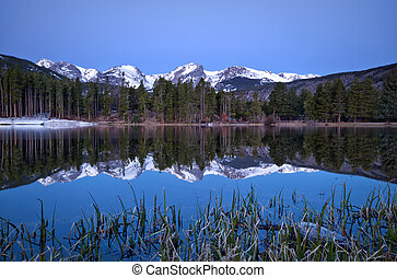 Pre dawn image of the Continental Divide and a Sprague Lake...