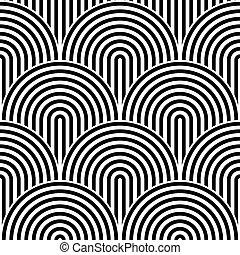 círculos, escala, patrón, pez,  seamless, Ilustración, Extracto, Plano de fondo,  vector, diseño, negro, concéntrico, rayado, elemento