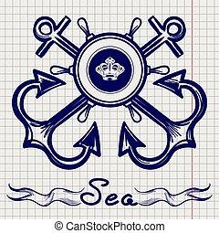 Royal fleet emblem on notebook page - Royal fleet emblem...