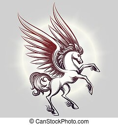 Sketched Pegasus in light round - Sketched Pegasus with...