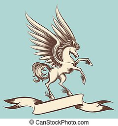 Vintage Pegasus with wings and ribbon - Hand drawn vintage...
