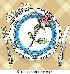 Romantic table setting with rose - Romantic table setting...