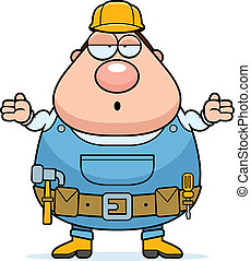 Handyman Confused - A cartoon handyman looking confused and...