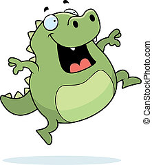 Lizard Jumping - A happy cartoon lizard jumping and smiling.