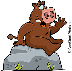 Boar Sitting - A happy cartoon boar sitting on a rock