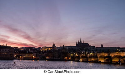 The Charles bridge and a nice time lapse shooting in day-to-night perspective