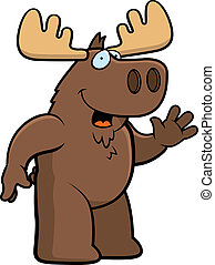 Moose Waving - A happy cartoon moose waving and smiling