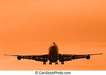 Take off - Departing boing 747 in magenta