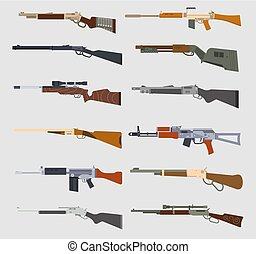 Machine guns vector set. - Machine guns weapons and military...