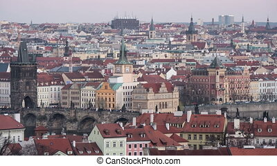 Prague, its central part, taken as a day-to night transition...