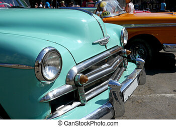 Old cars' hoods in Cuba - Old cars in Havana, Cuba